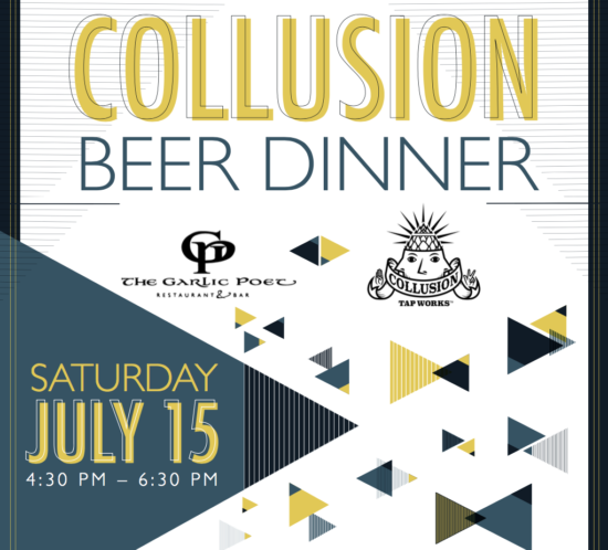 Collusion Tap Works Garlic Poet Beer Dinner